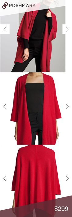 Neiman Marcus | 100% Cashmere Kimono Shawl Perfect fall/winter piece! Brand new without tags never been worn or washed | Neiman Marcus cashmere collection | rustic red color | dry clean only | Open to reasonable offers Neiman Marcus Sweaters