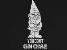 Trendy Pop Culture Hotter Topic You don't know GNOME me Funny t-shirt tshirt Unisex Toddler Ladies All Sizes