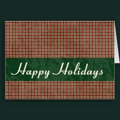 Classic country Christmas cards, fully customizable. Plaid, Christmas, Maroon Customizable Greeting Card