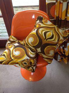 Vintage Retro Cushions Pair Yellow Brown 1960s Original Fabric