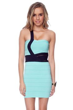 Strapped In Bandage Dress in Mint and Navy $52 at www.tobi.com