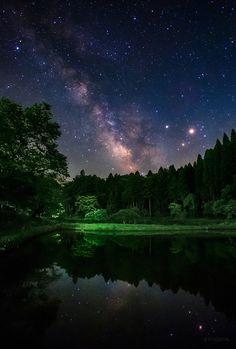 KAGAYA @KAGAYA_11949  5月7日 新緑彩る天の川。あたりはカエルの鳴き声でいっぱいでした。 右の明るい星は火星です。 一昨日未明、房総半島(千葉県)にて撮影。