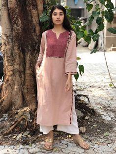 Old Rose Hand Embroidered Handwoven Organic Cotton Kurta Silk Kurti Designs, Kurta Designs Women, Stylish Dress Designs, Stylish Dresses, Indian Dresses, Indian Outfits, Diy Clothes Design, Fancy Suit, Pakistani Fashion Casual
