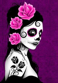 Purple Day of the Dead Sugar Skull Girl | Jeff Bartels