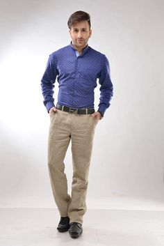 Feel the amazing flawless feel and soft texture adorning this blue coloured formal shirt from the house of Callino.. ~ callino.com