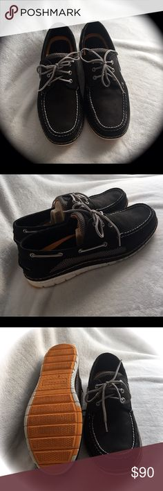 MENS LIKE NEW ~ Boyfriend Fail ~ Sperry Top Sider MENS GENTLY Pre-Loved Condition. In fact worn once in the house and out to the deck. BRAND NEW CONDITION. Size 13. BillFish UL3 Eye Black style. My boyfriend decided he's not a Sperry kinda guy. He'll stick to his sneaks and boots. These are flawless and in perfect condition. Look on the bright side at least he doesn't wear Crocs, LoL! 🚫TRADES 🚫🅿️🅿️ Reasonable offers considered Sperry Shoes Boat Shoes
