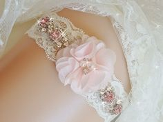 Jeweled Lace Wedding Garter, Bridal Garter, Blush Wedding Garter, Pink Garters, Bridal Lingerie, Rhinestone Garter, Bridal Accessories by bridalambrosia on Etsy