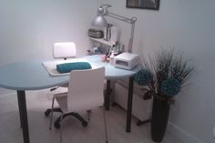 Blue Aqua desk for home nail salon