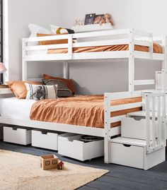 Never be short on sleeping space again with the mega Freddie Bed. Decked out with a double bottom bed and single top bed, this triple sleeper is perfect for large families or sleepovers! Triple Sleeper, Modern Kids Bedroom, Large Families, Triple Bunk, Cool Wall Art, Spare Room, Sleepover, Kids Rooms, Space Saving