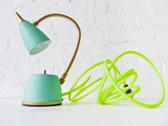 Vintage Lamp - Mint Green Gooseneck w/ Neon Yellow Net Cloth Color Cord. $225.00, via Etsy.