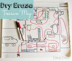 Dry Erase Treasure Map - Cutesy Crafts