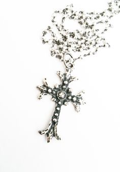 Large Silver Cross Necklace, Vintage Style Jewelry, Cross Pendant, Pyrite Chain, Layering, Free USA Shipping