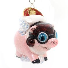 Christopher Radko Pigs Are Flying Glass Ornament