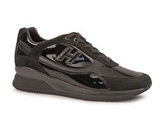 Hogan womens black Laminated calf leather sneakers shoes - Italian Boutique $208