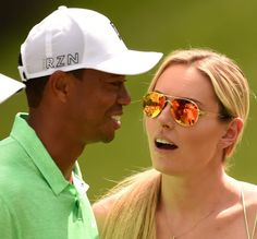 Golfer Tiger Woods and skier Lindsey Vonn during the Par 3 competition Augusta National Golf Club in. - Provided by AFP Tiger Woods, Amanda Boyd, Lindsey Vonn, Augusta National Golf Club, Three Days, New Girl, Breakup, Mirrored Sunglasses
