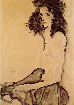 Girl in Black Egon Schiele