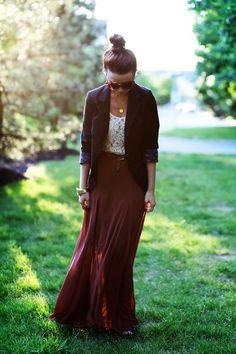 textured top, maxi skirt, blazer.