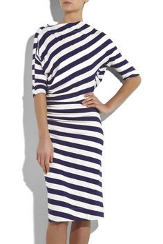 VIVIENNE WESTWOOD ANGLOMANIA ~ cotton knit striped dress ~ love how the stripes are skewed towards the bias ~ Vivienne Westwood Anglomania, Striped Jersey, Kinds Of Clothes, Young Fashion, Fashion Outfits, Womens Fashion, Striped Dress, Dress To Impress, Designer Dresses