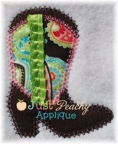 Cowboot Boot Shoe with line to attach ribbon by JustPeachyApplique, $4.00