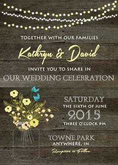 Rustic Wedding Invitation http://www.yellowumbrellapaper.co/product/rustic-wedding-invitation/