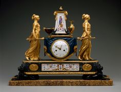 Pierre-Philippe Thomire  (French; b. Paris, 1751-d. Paris, 1843)  Case: Pierre-Philippe Thomire (French 1751-1843)  Signed and dated: Thomire 1789  Clock: Robert Robin (French 1742-1799)  Signed on the dial: Robin / Hger Du Roi  (Robin / Clockmaker to the King)  1789  gilded, patinated, and painted bronze, Sevrès porcelain, enamel on copper, and marble . Corcoran Art Gallery