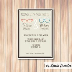 INVITATION - Glasses hipster (customizable) Digital or Printed Item $10