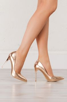 Pointed Tie Pumps in Silver, Rose Gold and Gold