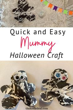 The mummy craft is quick and easy to put together, the kids love it and it turns out looking so cute. Plus you probably already have all the supplies you need on hand. Rainy Day Activities, Indoor Activities For Kids, Halloween Activities, Easy Crafts For Kids, Toddler Crafts, Crafts To Make, Mummy Crafts, Craft Stick Crafts, Cute Halloween