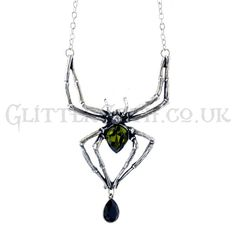 Alchemy Gothic Emerald Venom Necklace:  The predator stands poised, body agleam with emerald venom as it sinks its fangs into the pulsing neck of the wearer.