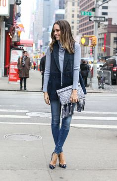Fall outfit: light blue turtleneck sweater, navy long vest, skinny jeans, dark blue lace pumps, Rebecca Minkoff bag