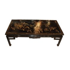 Black lacquer Chinoiserie cocktail table with beautiful hand painted gold flowers on top. Table Furniture, Home Furniture, Decor Interior Design, Interior Decorating, Gold Flowers, Cocktail Tables, Asian Style, Chinoiserie, Beautiful Hands