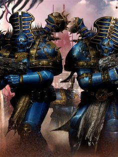 The Rubricae are warriors of the Thousand Sons Legion. These forever cursed Chaos Space Marines exist only as dust, entombed by power armour. Rubricae are automatons used by Thousand Son Sorcerers as bodyguards and enforcers