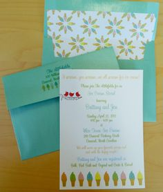bridal shower invitation featuring ice cream cones by Three Little Birds