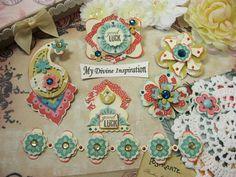 Basic Grey Spice Market Boho Chic Handmade Paper Embellishments, Paper Flowers…