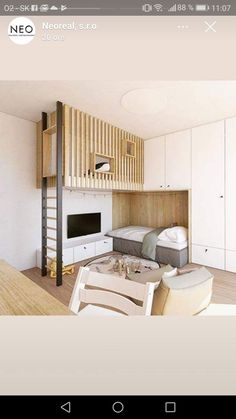 Nursery – bed Kinderzimmer – Bett - Add Modern To Your Life Bunk Bed Designs, Kids Room Design, Small Home Design, Dream Rooms, Girl Room, Small Spaces, Bedroom Decor, Blonde Wood, House
