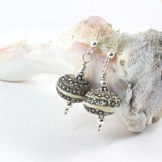 Sterling Silver Lampwork Bead Earrings, Silver Earthtone Earrings, Earthtone Dangle Earrings, Artisan Lampwrok Earrings @solanakaidesign #bmecountdown