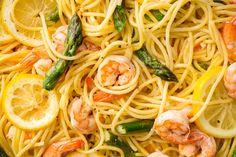 Lemony Shrimp and Asparagus SpaghettiDelish