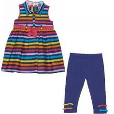 2015 Spring/Summer Fizzy Pop Striped Dress and Legging Set from #deuxpardeux This colourful stripey dress with matching leggings will brighten up her wardrobe! #3littlemonkeys