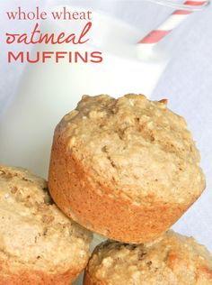 Healthy Morning Option: Whole Wheat Muffins packed with oatmeal #muffins   -- we love these enough to eat them all day long