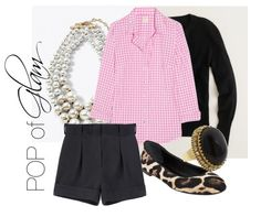 great Collage II...  Perfect gingham cotton shirt  Jenna's cardigan  Cacharel Cuffed Silk Shorts  Giuseppe Zanotti Leopard Flat  Womens Pearl Capped Glass-Pearl Necklace by White House Black Market  Juicy Couture R-Black Cocktail Ring ....