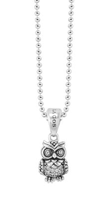 Diamond and sterling silver owl pendant. LAGOS Jewelry | Rare Wonders collection. Available at Hingham Jewelers!