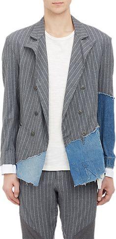 Greg Lauren Denim & Chalkstripe Double-Breasted Sportcoat - Sportcoats - Barneys.com