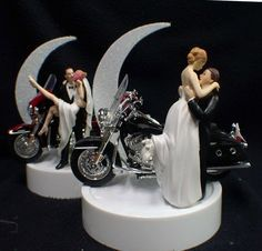 SEXY or Romantic Wedding Cake Topper w/ Harley Davidson Motorcycle Black KING or Red Glide