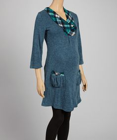 Loving this Hot Mama Maternity Teal Maternity Layered Three-Quarter Sleeve Top on #zulily! #zulilyfinds