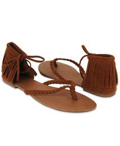 leather fringe thong sandals