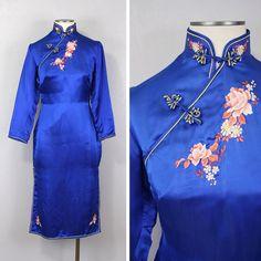 Vintage Silk Cheongsam Dress Sapphire Blue Embroidered Floral Mandarin Collar Cocktail Dress