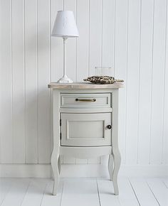 Bridgeport grey lamp table with cupboard - living, hall and bedroom grey furniture. The White Lighthouse offers side tables in our unique style bring together Cottage, New England, French and Coastal Styles Grey Painted Furniture, Hall Furniture, Beach Furniture, White Furniture, Furniture For You, Shabby Chic Furniture, Furniture Ideas, Side Table Lamps, Lamp Table