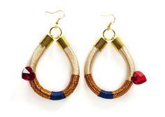 Large Statement Earrings Blue Gold Rope Earrings by KiaFilStudios