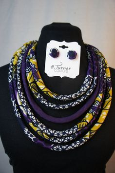 Purple Ankara Fabric Statement Necklace  African by ETurnerCouture