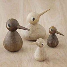 12 cm ArchitectMade Bird Holzfigur L natur natur ø 7 cm